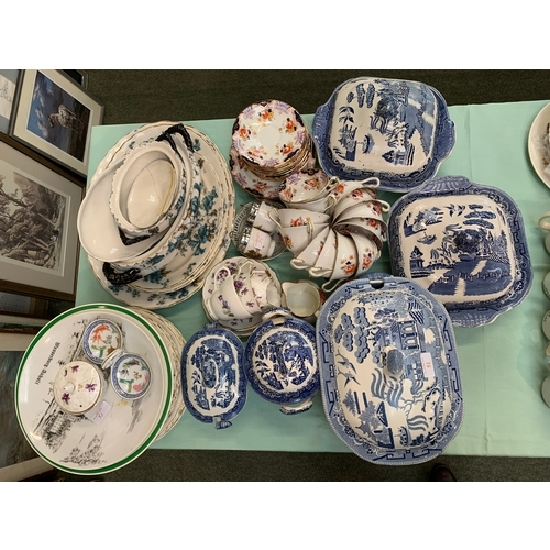 51 - Qty of china, including blue & white Willow pattern, Trenth K&B, Dawlish anchor china, Aynsley etc...