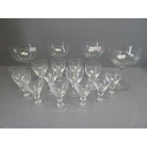 9 - Qty of glasses to include 4 burgundy, 6 Brierley & 7 smaller port/sherry glasses...