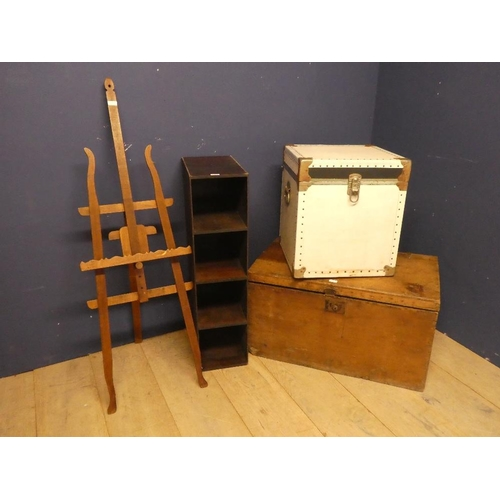 16 - Easel, shelving unit & 2 trunks all as found...