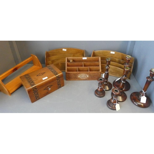 24 - Selection of woodwork items to include desk tidys candlesticks and box...