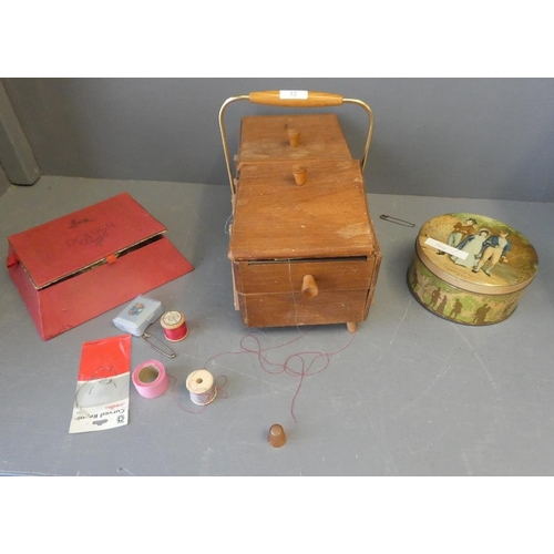 32 - 1950s wooden sewing box together with tins and boxes of other sewing items...