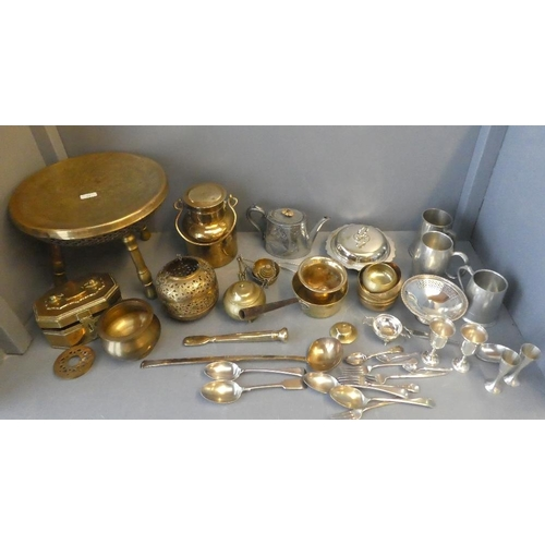 34 - A quantity of brass, copper and white metal items...