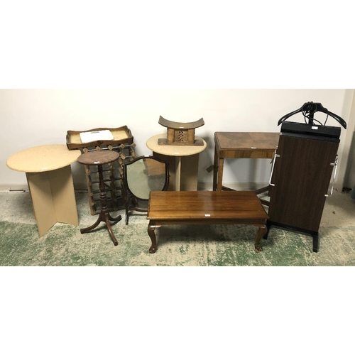 62 - Quantity of small general furniture, table mirror, wine rack trouser press etc....