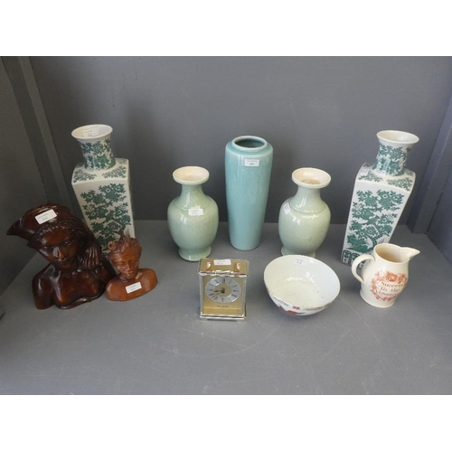66 - A quantity of china including two pairs of vases, jug and other, quartz clock, bowl and two wooden s...