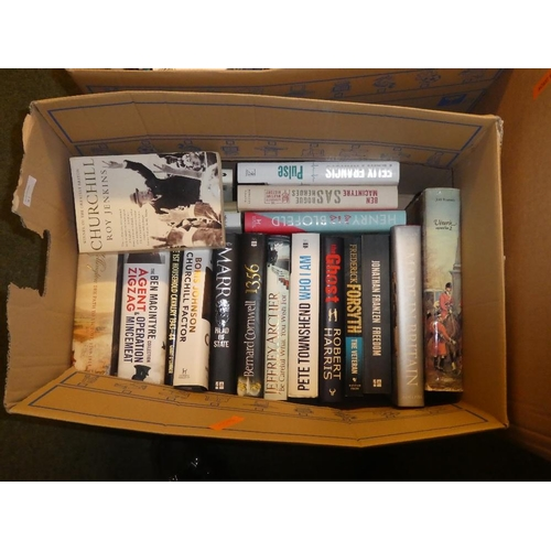 81 - Four boxes of books a mixture of hardback and paperback to include,terry hayes,agatha christie,rober...