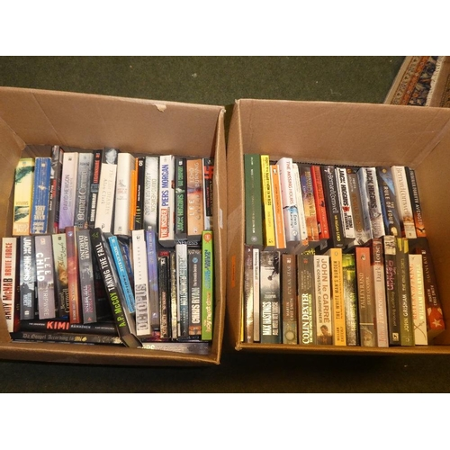 82 - Two boxes of books assortment of paperback and hardback authors include andy mcnab jack higgins auto...