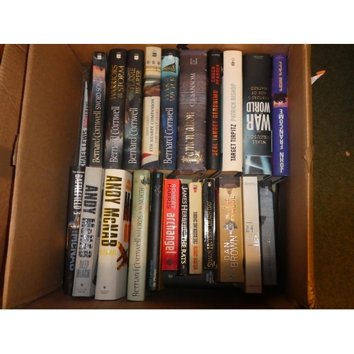 83 - Two boxes of hardback books mainly historical also archer mcnab and bernard cornwell novels...