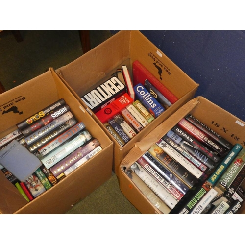 84 - Three boxes of hardback books a collection of lee child novels also historical books...