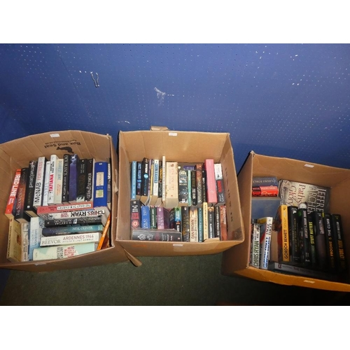 85 - Three boxes of books a mixture of hardback and paperback authors include dick francis, john francome...