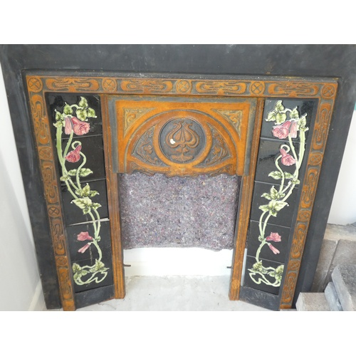 72 - Stone fireplace Art Noveau style with tiled surround & grate...