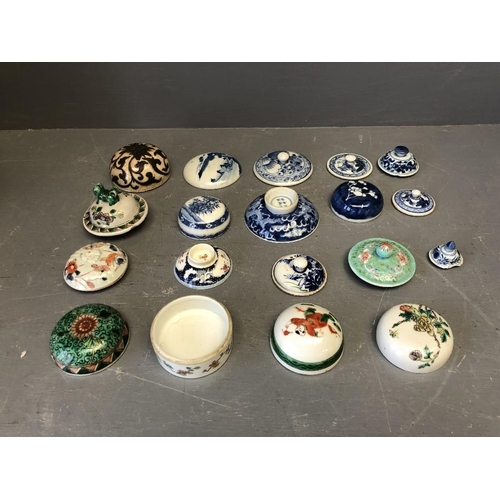 102 - Collection of Chinese porcelain lids...