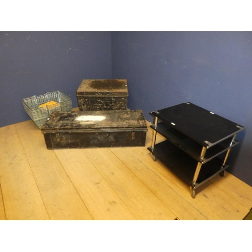 12 - Entertainment trolley, 2 metal trunks & metal wire baskets, & assortment of tiles...