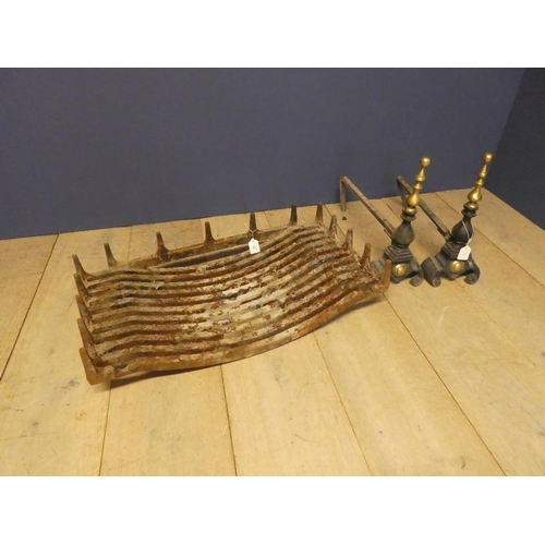 30 - Pair of late C19th fire dogs, & fire basket 76L cm...