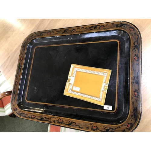 52 - large Black tray and a gilt ashtray...