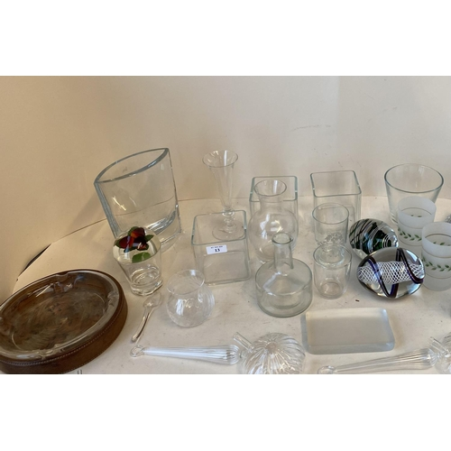 13 - Qty of various glass ware including vases, decorative glass items, jugs, decanters and 3 of boxes of...
