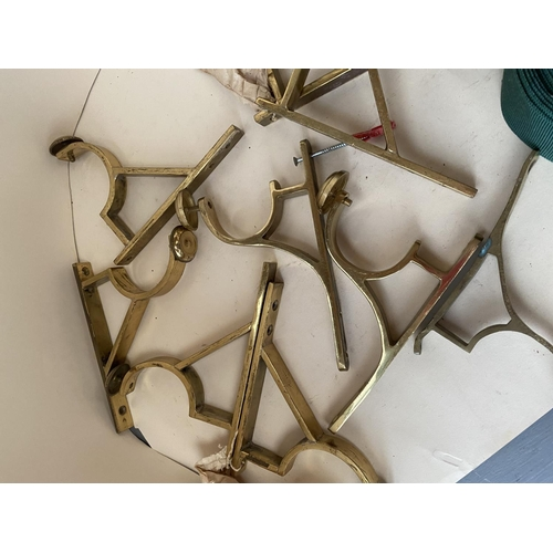 30 - Quantity of good quality curtain accessories - tie backs, curtain poles and pol ends, ribbon etc, se...