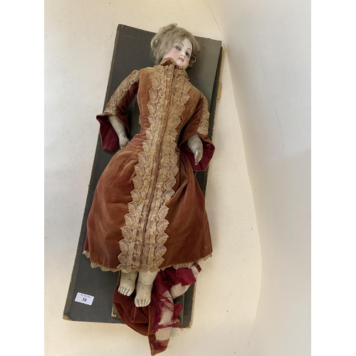 34 - Vintage doll -  porcelain head, leather legs, and period dress (condition - some general wear - see ...