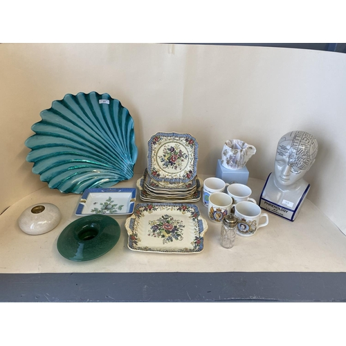 37 - Qty of decorative china and glass including Royal Doulton The Vernon, commemorative mugs and a study...