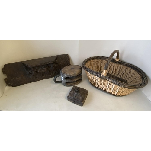 42 - Wooden maritime rope pully, wooden carved teak box, wicker basket & wooden misericord CONDITION: gen...