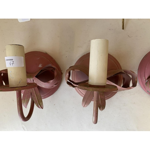 47 - Qty of decorative brass wall lights and sconces...