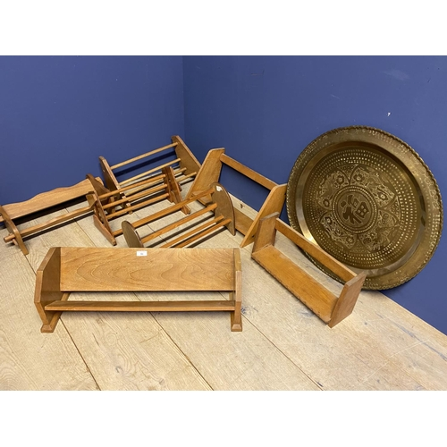 50 - Qty of wooden book troughs and book shelves & large brass oriental style circular tray...