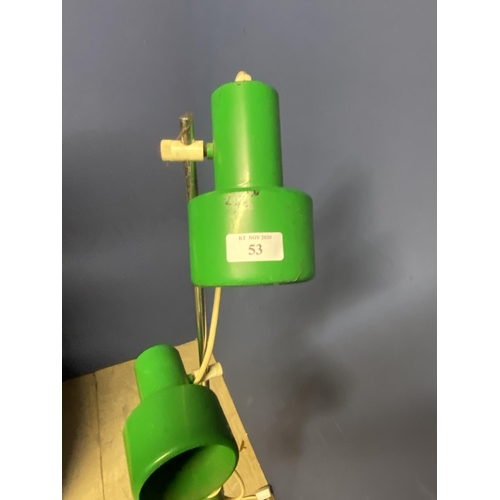 53 - Vintage green spot lamp & blue vintage angle poised desk lamp...
