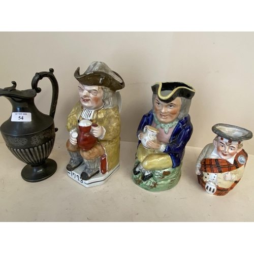 54 - Qty of Toby jugs & pewter jug CONDITION: some cracks and general wear...