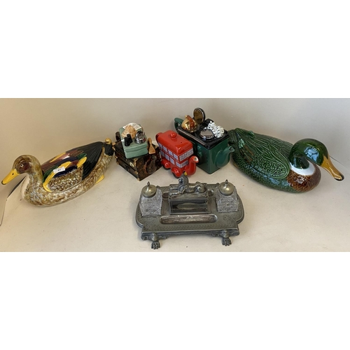 57 - Qty of modern china to include ducks, novelty tea pots & old metal desk ink stand...
