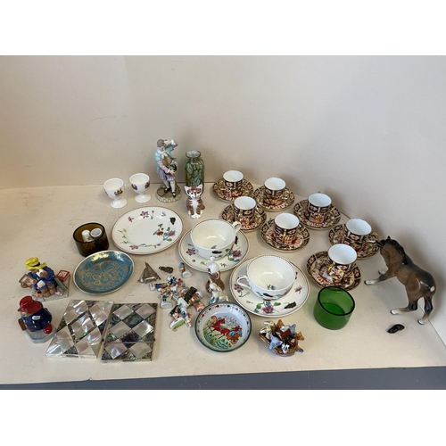 58 - Royal Crown Derby 7 place coffee set, Meissen figurine & qty of other ceramics and glass CONDITION s...