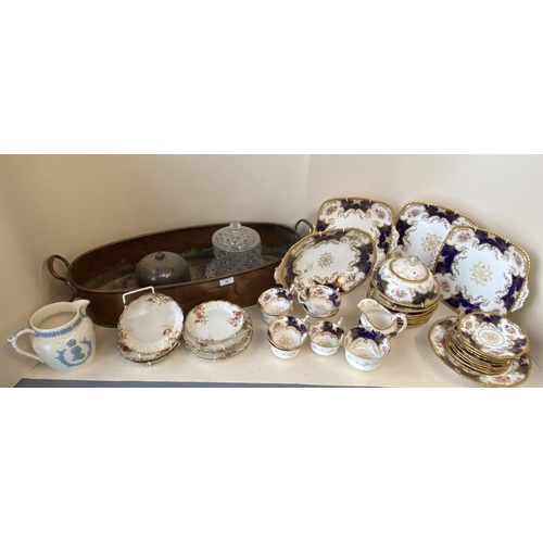 59 - Coalport tea service 8 place settings 32 pieces & copper plant trough & other ceramics & glass CONDI...