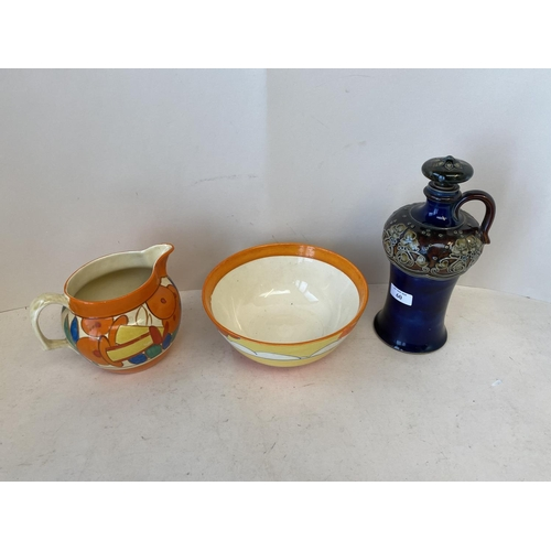 60 - Clarice Cliff bowl Bizarre & Clarice Cliff jug Fantasque & Royal Doulton Flagon with stopper, impres...