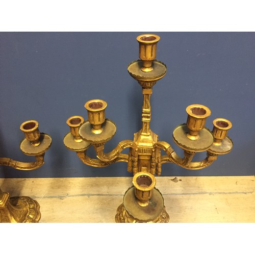 11 - A pair of good quality C19th giltwood side candelabra and a pair of ormolu candle sticks, and qty of...