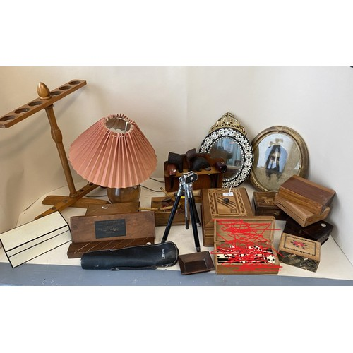 9 - Quantity of treen, games, and other decorative items to include inlaid boxes mirrors,  an oval mirro...