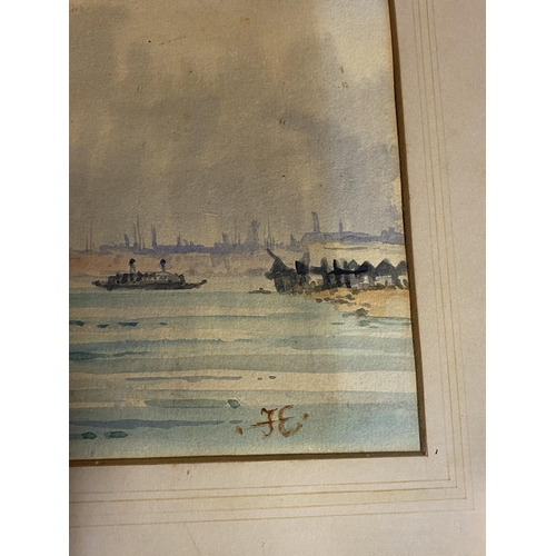 10 - C19th watercolour, sailing ships, initial JE lower right, 16 x 37cm (condition, some tiny foxing mar...