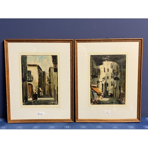 11 - Pair oils on canvas, Impressionist style street scene, one labelled Palma de Mallorca, 1989, signed ...