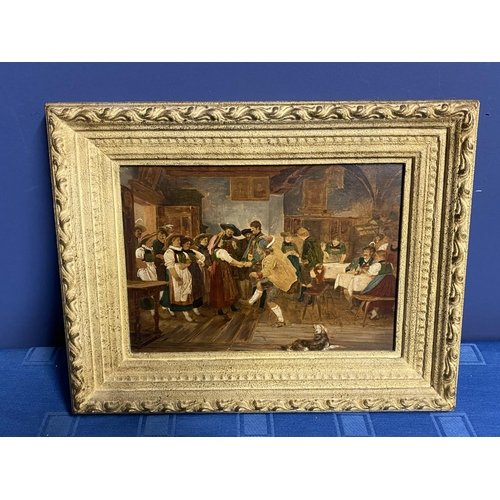 12 - C19th Oil on panel Continental tavern scene with dancing figures,  18 x 25cm, indistinctly signed lo...