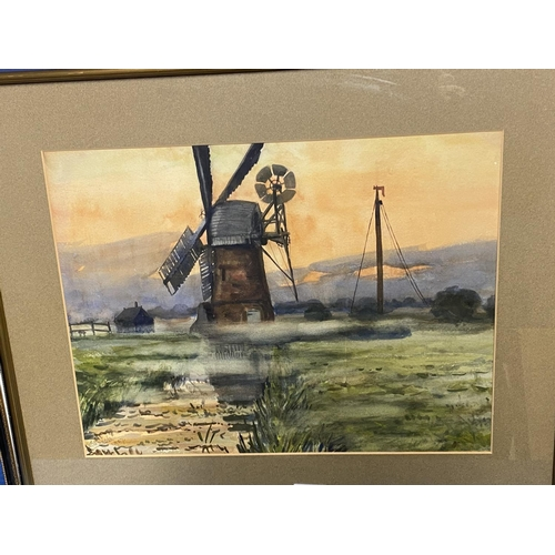 13 - Mixed lot of pictures, to include Windmill scene, W Bach 1907; coloured print cottages; coloured pri...