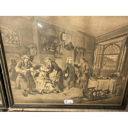 15 - Six Hogarth black and white engravings, various plates, including Marriage a la Mode, in original gl...