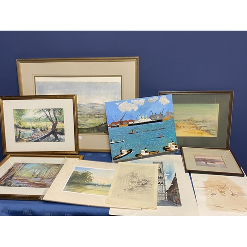 28 - Quantity of pictures to include a watercolour of Northumberland  K M Welch