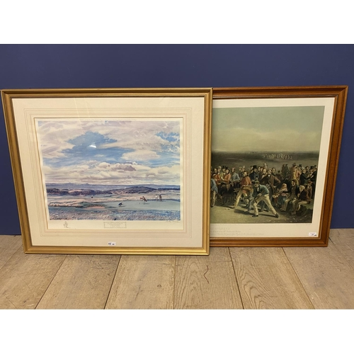 29 - Two large framed and glazed modern coloured golfing prints, The First green Muirfield, signed in pen...