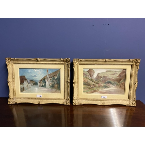 3 - Pair of C19th watercolours, label verso, Cheddar Village and Porlock Village by Moonlight, J Wilson,...