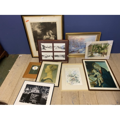 30 - Quantity of framed and glazed prints and numerous small frames all house clearance lots...