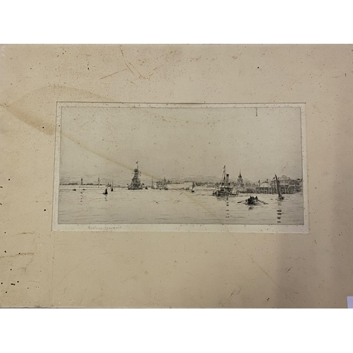 32 - Unframed black and white maritime engraving, signed in pencil on mount, Rowland Langmaid 17 x 35 cm ...