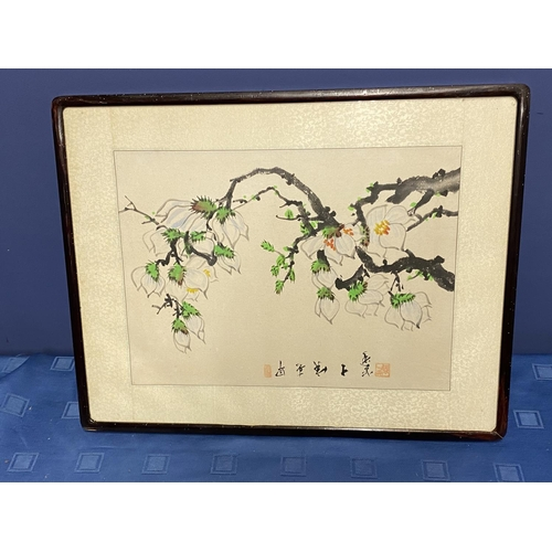 33 - An old Korean painting of a plum tree in blossom, in early Spring with Chinese calligraphy, with att...