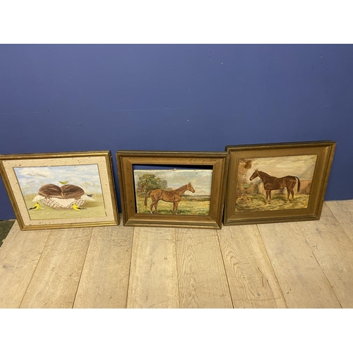 35 - Pair of oil on canvas, Hunter in Stable, Hunter at Grass, signed W Wasdell Trickett 1923 & 1929 (con...