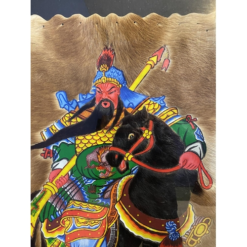 38 - Large framed and glazed painting of a Chinese warrior on a horse, mixed media including mounted on a...