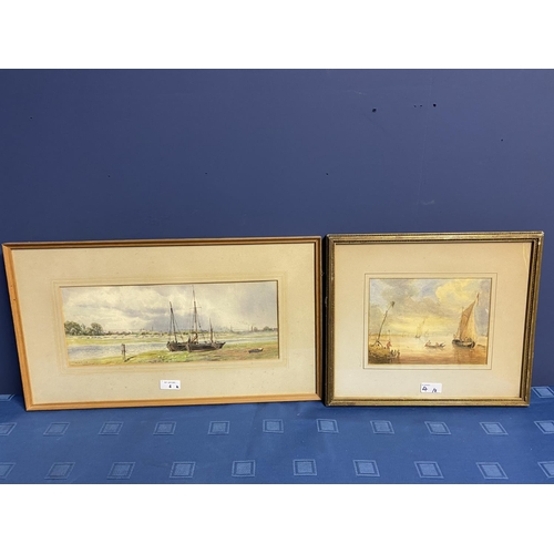 4 - C19th watercolour, two fishing boats moored in an Estuary, signed M Snape,  14 x 37cm (condition, go...