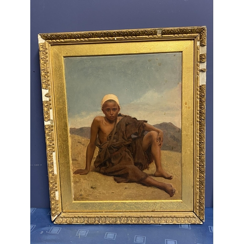 40 - Late C19th, oil on canvas, Moroccan boy in desert, monogramed lower left, GF Cairo 1871, (possibly F...