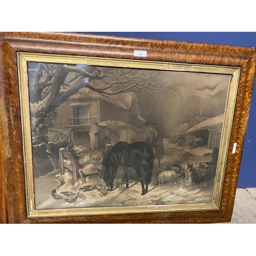 41 - Maple framed engraving, Victorian scene, ponies eating hay in farmyard,  maple framed print of game ...
