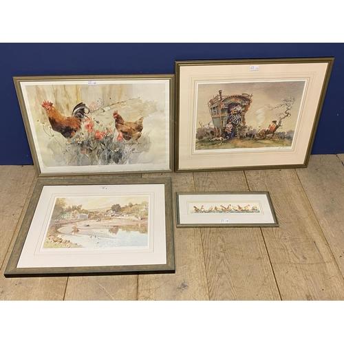 42 - Framed and glazed coloured print, Batson Village Salcombe, 196/500; Print Gypsy Folk, Evening Lullab...